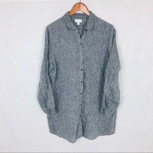 J Jill love linen tunic large petite gray buttons